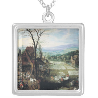 Market and Bleaching Ground, 1620-22 Silver Plated Necklace
