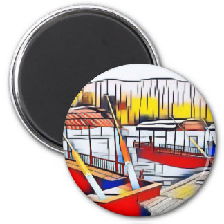 Market Boats 6 Cm Round Magnet