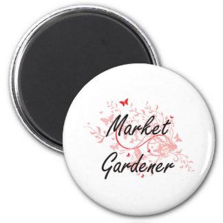 Market Gardener Artistic Job Design with Butterfli 6 Cm Round Magnet