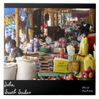 Market in Juba, South Sudan Large Square Tile