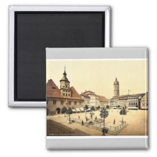 Market place and Bismarck's Fountain, Jena, Thurin Square Magnet