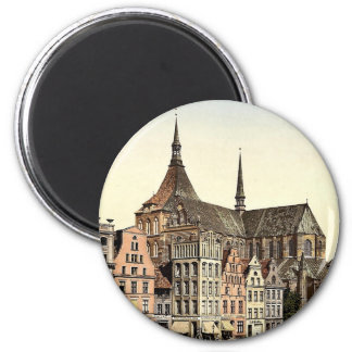 Market place and Marien Church, Rostock, Mecklenbu 6 Cm Round Magnet