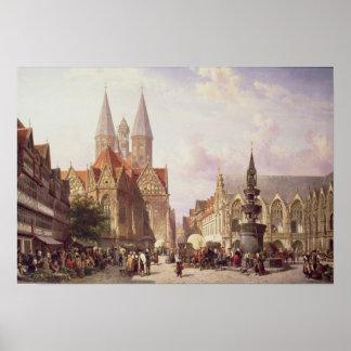 Market Scene at Braunschweig Print