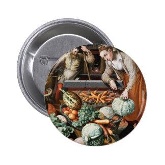 """Market Scene"" vintage art button"