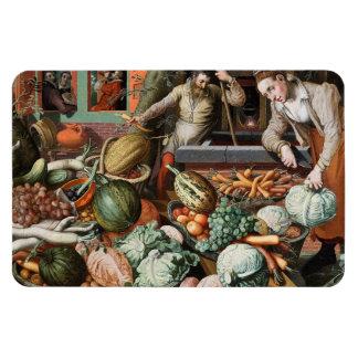 """""""Market Scene"""" vintage art magnet"""