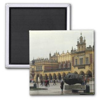 Market Square in Krakow Square Magnet