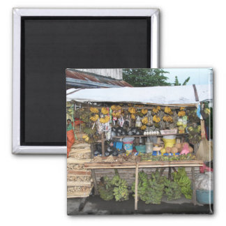 Market stall square magnet