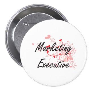 Marketing Executive Artistic Job Design with Heart 7.5 Cm Round Badge
