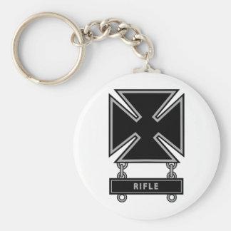 Marksman Badge w/Rifle Bar Basic Round Button Key Ring