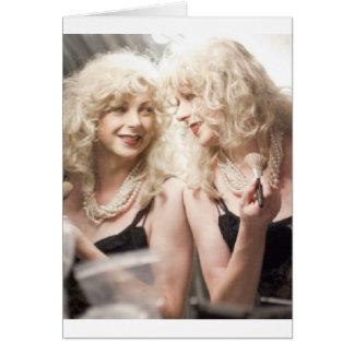 Marlene in mirror.jpg greeting card
