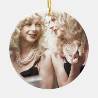 Marlene in mirror.jpg Double-Sided ceramic round christmas ornament