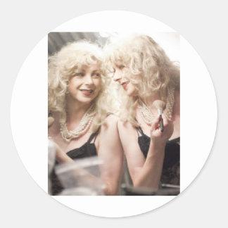 Marlene in mirror.jpg round sticker