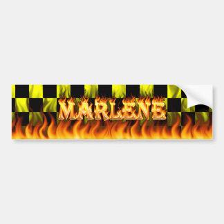 Marlene real fire and flames bumper sticker design