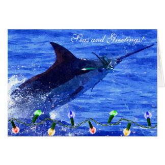 Marlin Seas and Greetings Holiday Card