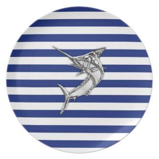 Marlin Swordfish Chrome Style on Nautical Stripes Plate