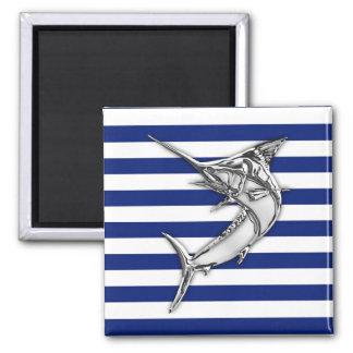 Marlin Swordfish Chrome Style on Nautical Stripes Square Magnet
