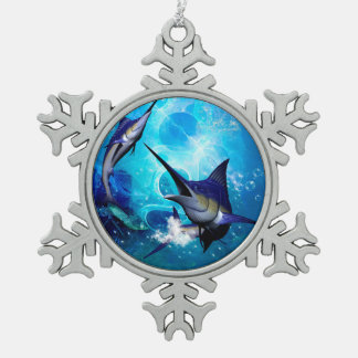 Marlin with bubbles snowflake pewter christmas ornament