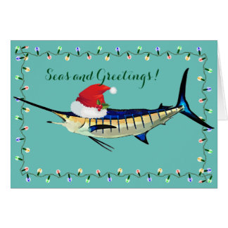 Marlin with Santa Hat Holiday Card