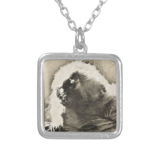 Marmoset Fine Art Sketch of Tiny Monkey Silver Plated Necklace
