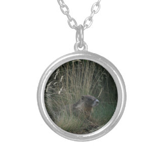 Marmot in the Grass Silver Plated Necklace