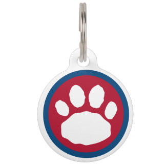 Maroon and Blue Paw Pet Name Tag