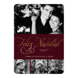 Maroon and Gold Feliz Navidad Photo Card