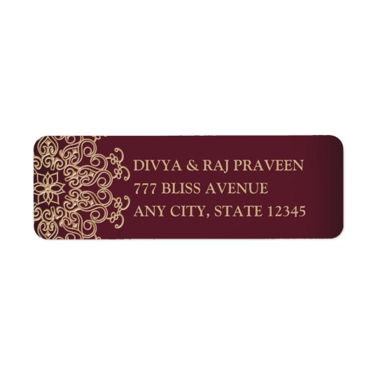MAROON AND GOLD INDIAN INSPIRED ADDRESS LABELS