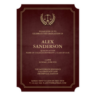 Maroon and Gold Law School Graduation 13 Cm X 18 Cm Invitation Card