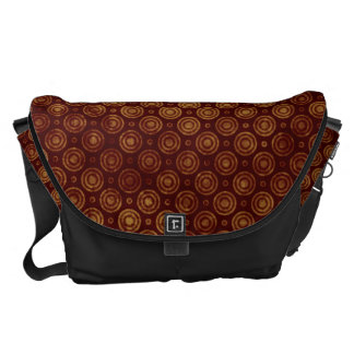 Maroon and Gold Retro Circle Pattern Commuter Bags