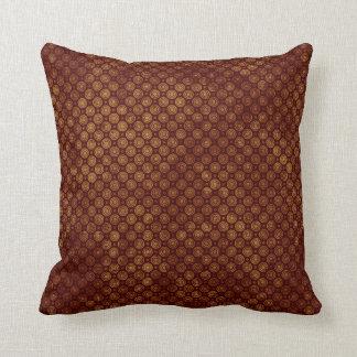 Maroon and Gold Retro Circle Pattern Cushion