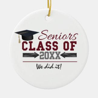Maroon and Gray Graduation Photo Ornament