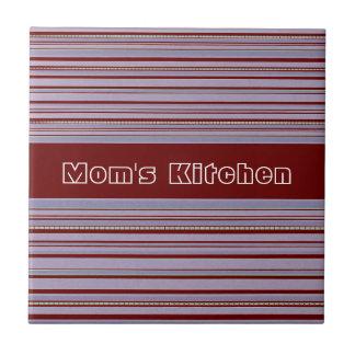Maroon and Lavender Stripe Custom Mom's Kitchen Small Square Tile