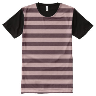 Maroon and Pink Stripes All-Over Print T-Shirt