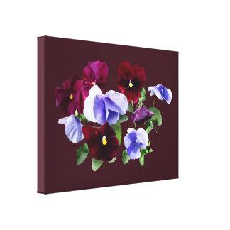 Maroon And Purple Pansies Canvas Print