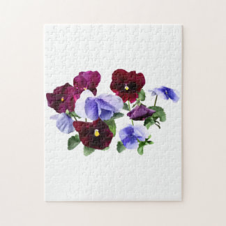 Maroon And Purple Pansies Jigsaw Puzzle