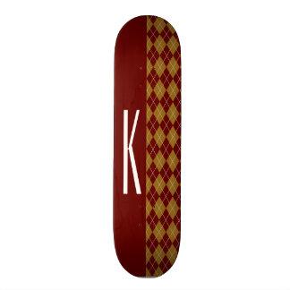 Maroon and Tan Retro Argyle Skateboards