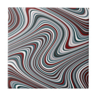 Maroon and Teal Blue Abstract Curvy Shapes Ceramic Tile