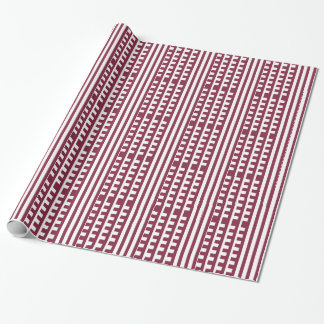 Maroon and White Combs Tooth Wrapping Paper