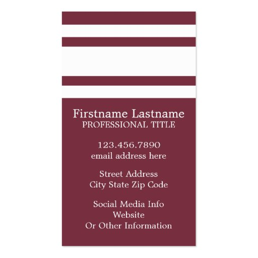 Maroon and White Jersey Stripes Custom Name Number Business Card