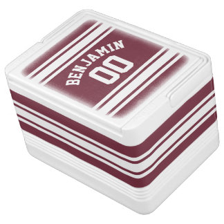 Maroon and White Jersey Stripes Custom Name Number Cooler