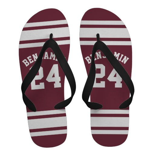 Maroon and White Jersey Stripes Custom Name Number Sandals