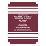Maroon and White Jersey Stripes Custom Name Number 13 Cm X 18 Cm Invitation Card