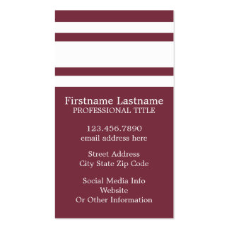 Maroon and White Jersey Stripes Custom Name Number Pack Of Standard Business Cards