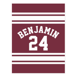 Maroon and White Jersey Stripes Custom Name Number Postcard
