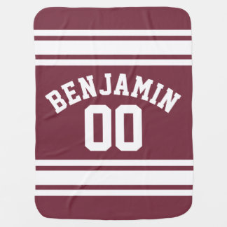 Maroon and White Jersey Stripes Custom Name Number Stroller Blankets