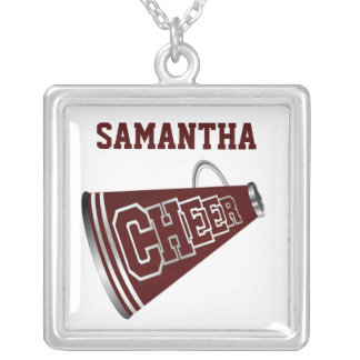 Maroon and White Megaphone Cheerleader Necklace