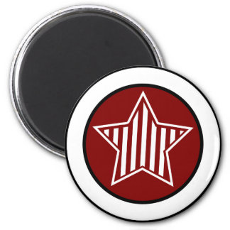 Maroon and White Star Round Magnet