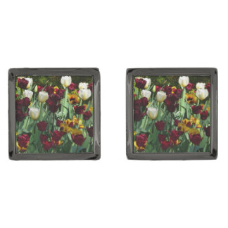 Maroon and Yellow Tulips Colorful Floral Gunmetal Finish Cufflinks