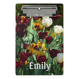 Maroon and Yellow Tulips Colorful Floral Mini Clipboard