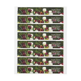 Maroon and Yellow Tulips Colorful Floral Wrap Around Label